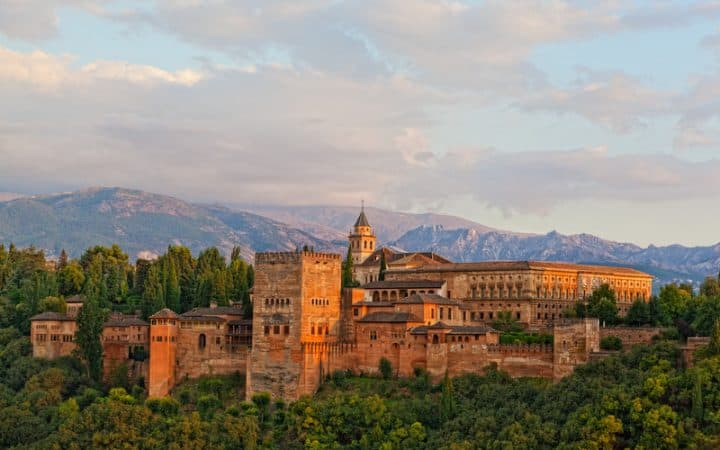 , view of Spain's main tourist attraction: ancient arabic fortress of Alhambra, Granada, Spain,Granada header, alhambra visit southern spain