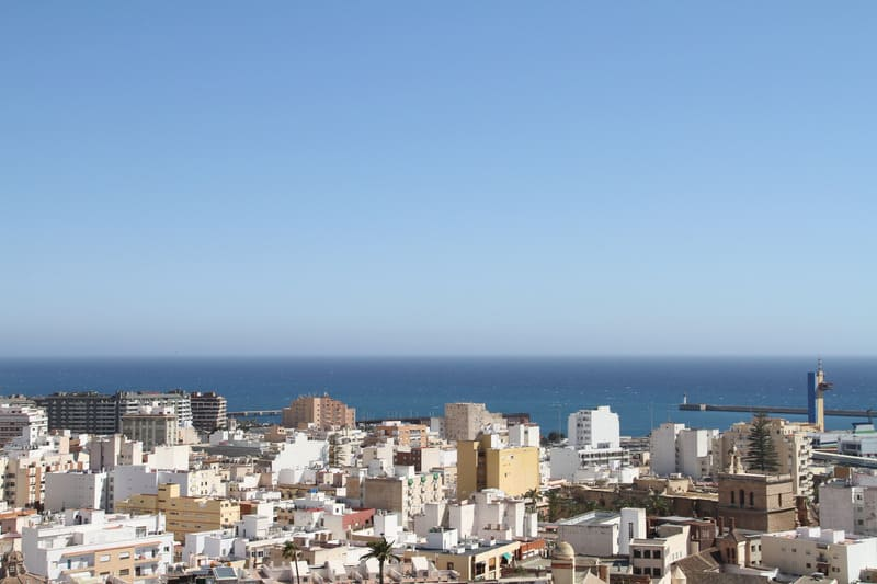 view of almeria, southern spain, andalucia and the sea