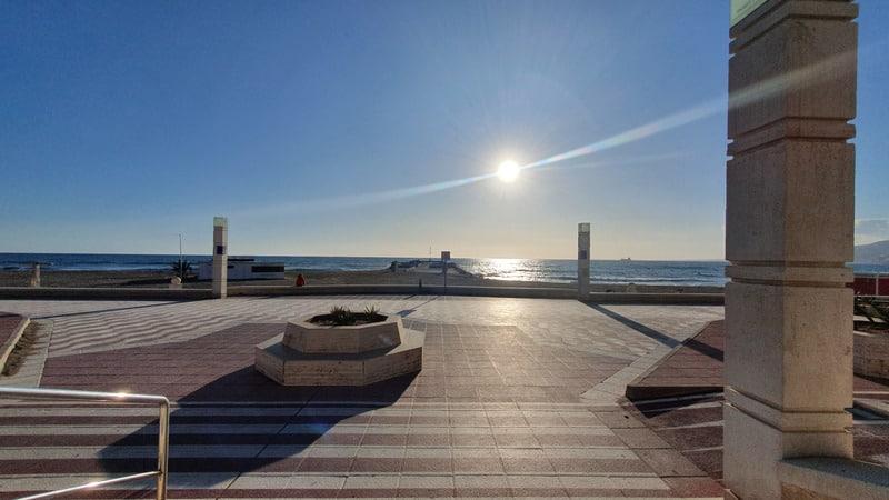 Beach, sun, boats, palm trees, Almeria. southern spain, paseo maritimo