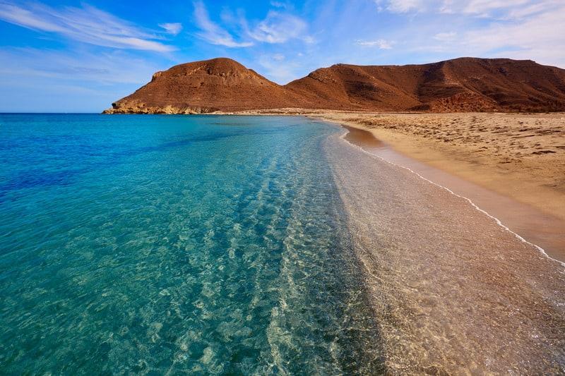 Almeria in Cabo de Gata Playazo Rodalquilar beach at Mediterranean Spain, southern spain