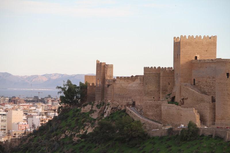 things to do in almeria, almeria fortress, almeria castle, Walls of an old fortress Alcazaba in Almeria, Spain