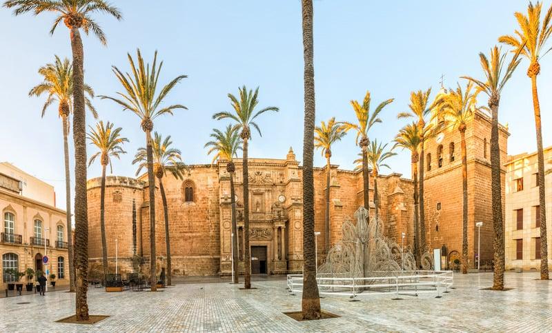 View on Almeria cathedral from Plaza de la Catedral in Almeria, Andalusia, Spain