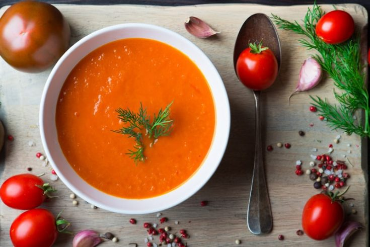 Tomato soup gazpacho with fresh tomatoes and garlic