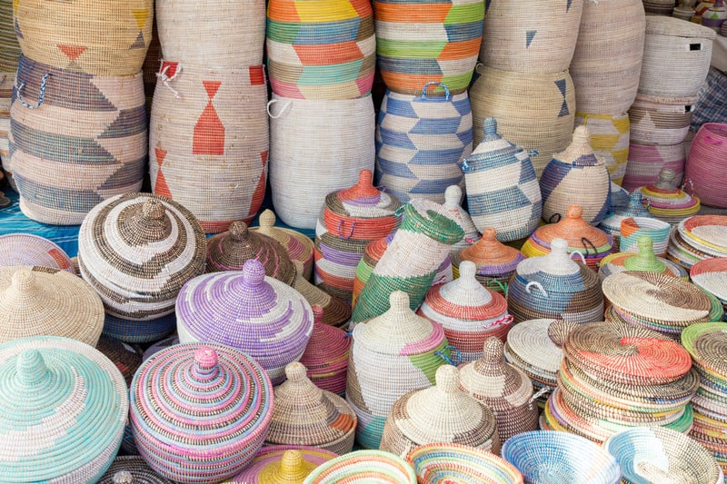 Wicker souvenirs on a market stall in Spain, things to do in southern spain