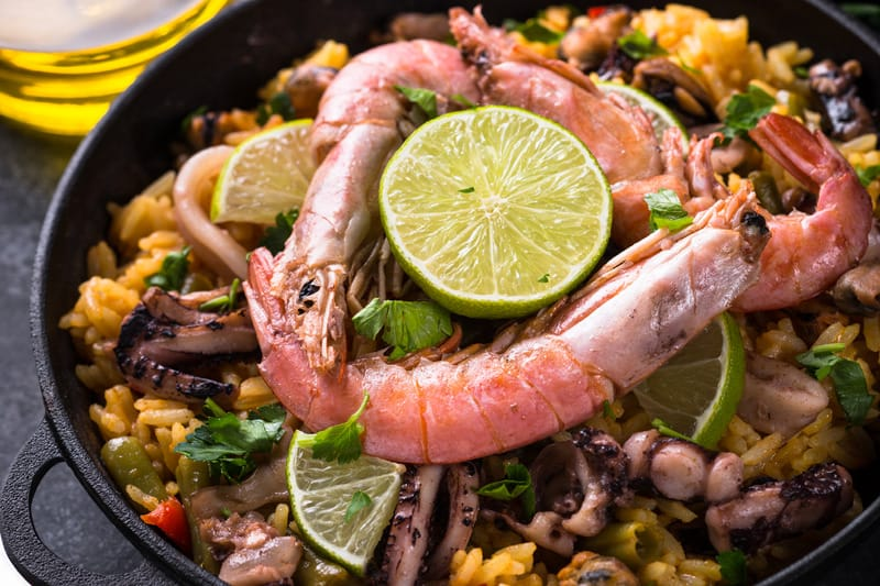 Delicious traditional paella, in the restaurants of Cordoba, Spain