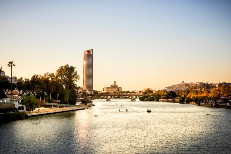 Torre Sevilla is the first skyscraper in Seville, part of the real estate project called Puerto Triana, located on the La Cartuja site where the 1992 Universal Exposition was held. The building has mixed commercial and office use, best place to stay in seville