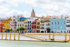 panoramic views of train neighborhood in seville, triana neighborhood seville