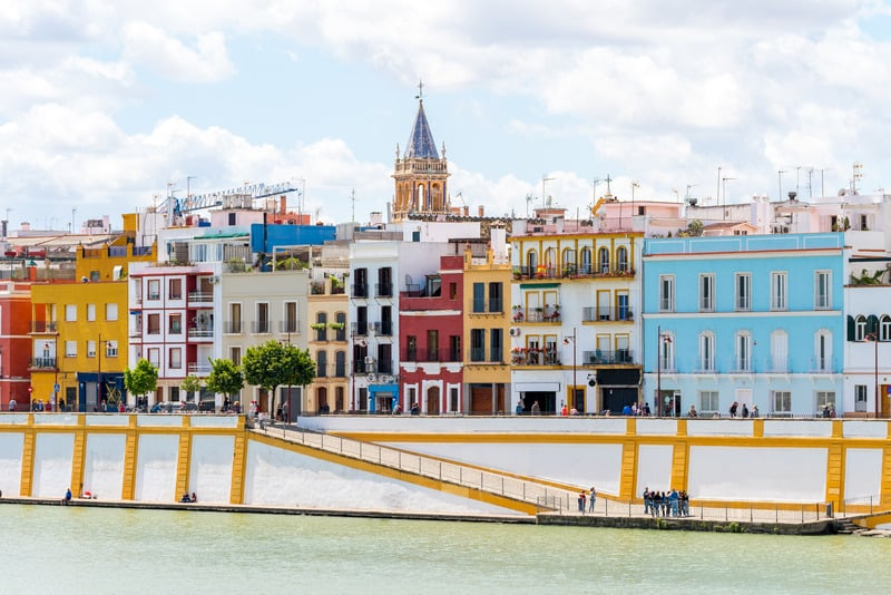 panoramic views of train neighborhood in seville, triana neighborhood seville