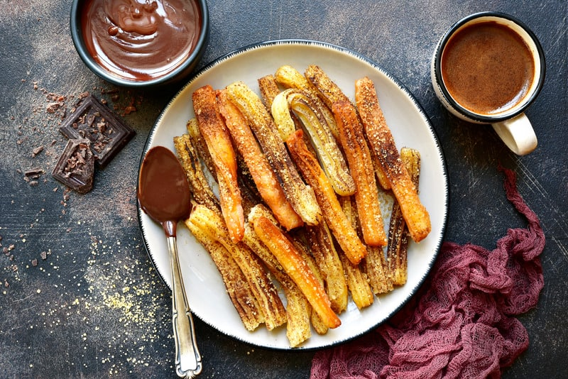 Delicious and sweet churros in Cordoba, Spain