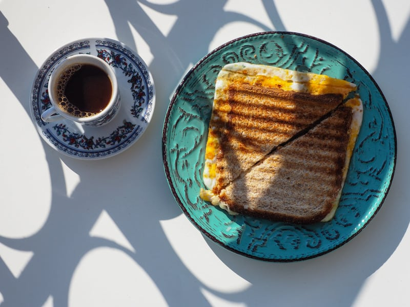 Delicious toast and coffee for breakfast in Granada, Spain.