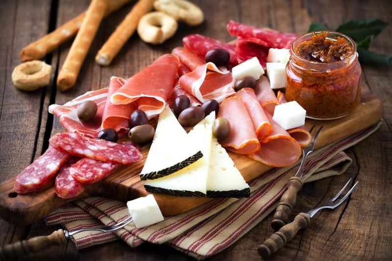 Traditional ham platter in Granada, Spain