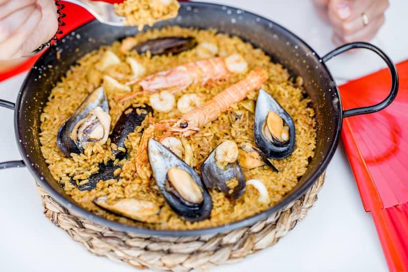 Delicious traditional Paella in Granada, Spain