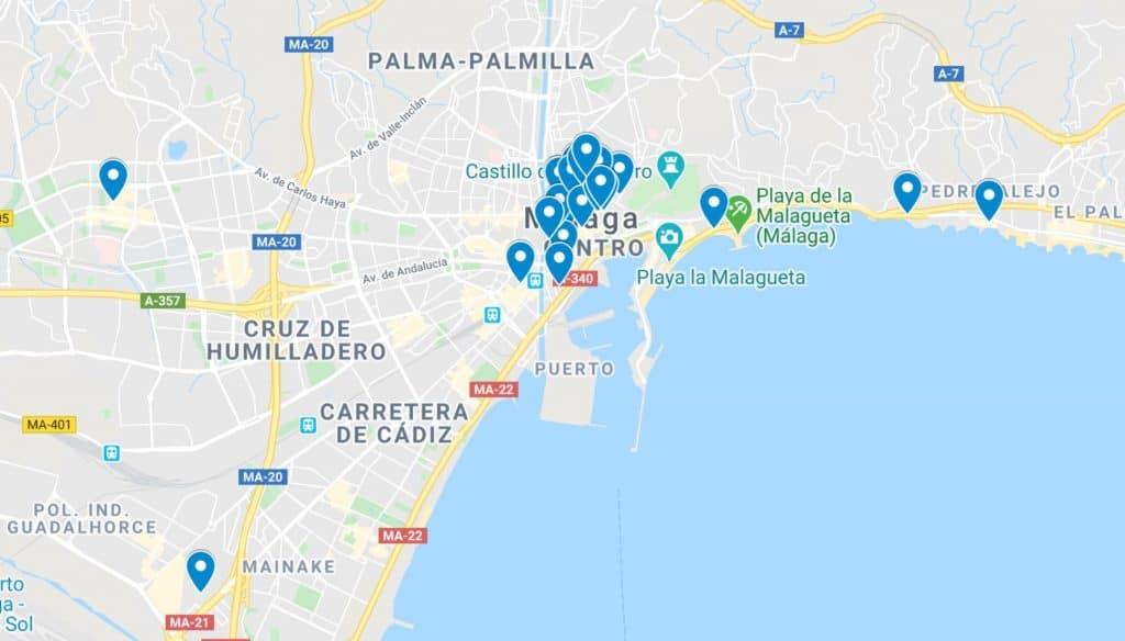 map, best food in malaga, restaurants