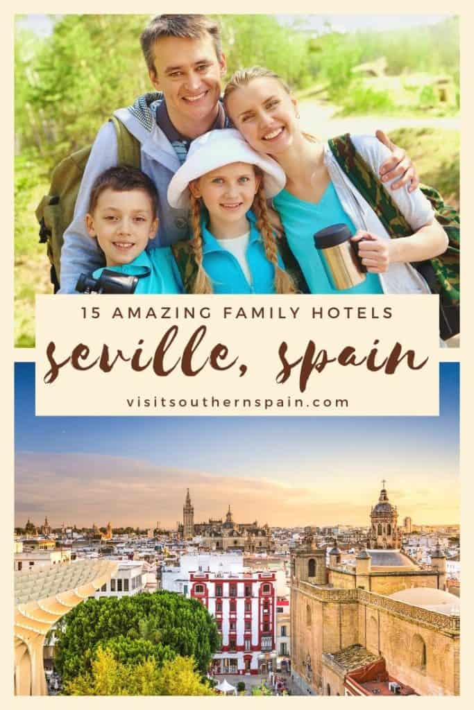 Are you planning to visit Seville with kids? Find a selection with the best family hotels in Seville, Spain. Indeed Seville for kids is a great idea since the city is small and easy to roam. These kid-friendly hotels in Seville promise a great family trip to Seville in Southern Spain. Find also inspiration on things to do in Seville with kids and family-friendly hotels for budget travel. #seville #spain #andalucia #sevilleforkids #familytravel #family #spainfamily #sevillewithkids #spainwithkids