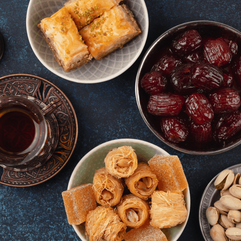 Sweet and savory Arabic delights in Granada, Spain, desserts from granada