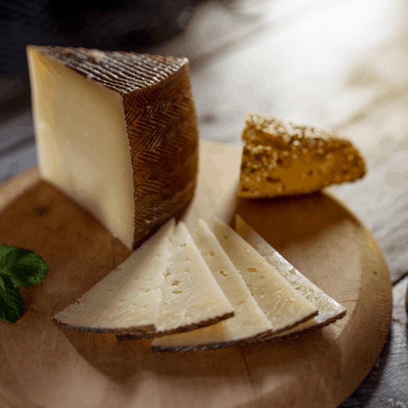 A slice of delicious Queso Montefrieño, in Granada Spain