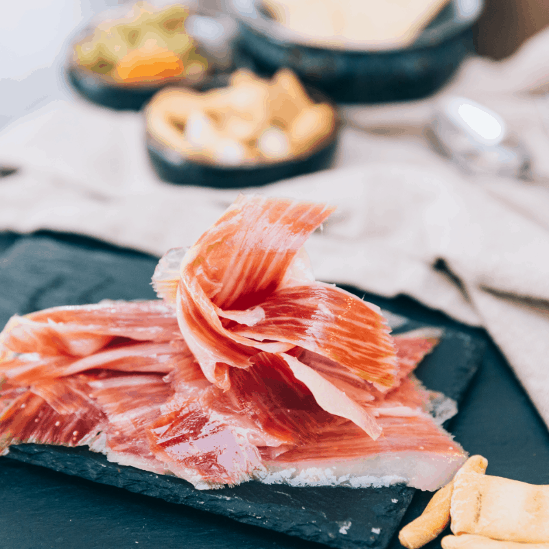 Delicious Iberian Ham, traditional dish in Seville, Spain