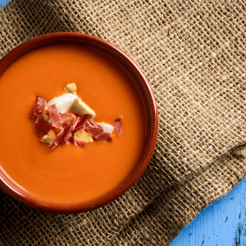 Spanish Tomato Soup (Porra Antequerana) on the table in Malaga, Spain