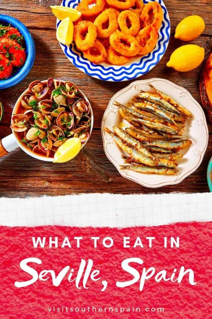 Are you wondering about what to eat in Seville and what's a typical food in Seville, Spain? This ultimate foodie guide by a local introduces you to the best tapas in Seville and best drinks in Seville. You'll also get 1 recommend restaurant in Seville per recommended traditional food from Seville, Andalusia. Thus if you are looking for the best places to eat in Seville, Spain, this guide will tell you where to eat in Seville for traditional food. #seville #sevillefood #sevilletapas #spainfood