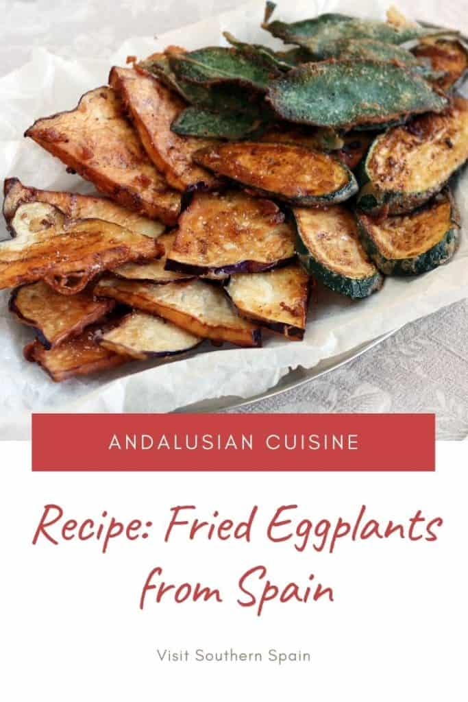 Are you looking for crunchy fried eggplants? This staple of Andalusian cuisine, also known as berenjenas fritas con miel are one of the most popular vegetarian tapas from Spain. Fried eggplants from Spain are often served with sweet sugar cane honey which make this Spanish dish highly addictive. Prepare berenjenas fritas crujientes for your friends and or if you are looking for a quick easy Spanish recipe. If you have eaten berenjenas fritas con miel in Spain, you'll want to do them at home! #spain