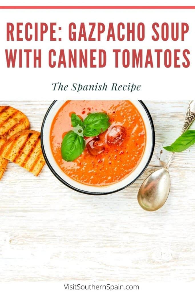 Looking for an easy Gazpacho recipe but you don't have fresh tomatoes at hand? With this super easy Spanish recipe you can do the typical Spanish cold Gazpacho soup in less than 5 minutes - without fresh tomatoes. Also known as gazpacho andaluz, this is probably one of the most famous dishes from Southern Spain. On top, this is a great vegetarian Spanish food and the Gazpacho soup recipe can be done as a snack or starter. #gazpachosoup #spanishsoup #gazpachosoup #cannedtomatoes #vegetarianfood