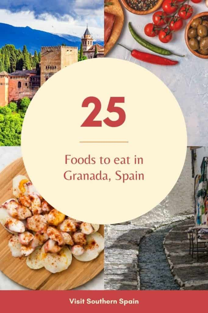 Are you looking for the best food in Granada, Spain? Find complete food with typical things to eat in Granada, Spain incl. Granada frutas, Arab sweets, and Spanish typical food such as paella or churros. For each dish from Granada, you get a recommendation on where to eat in Granada. Some of these places are considered the best restaurants in Granada. You'll thus learn what to eat in Granada at some of the best places to eat in Granada, Spain #granada #food #andalusia #foodgranada #restaurants