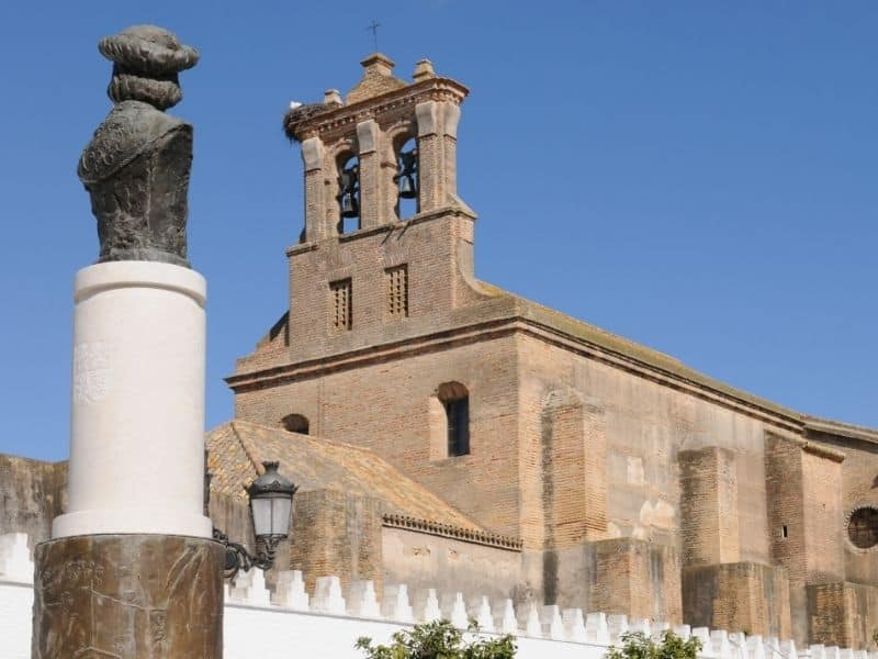 moguer spain, view of a church against blue sky