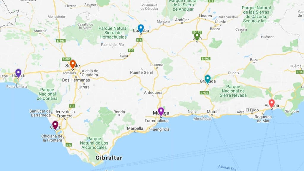 things do in andalucia map
