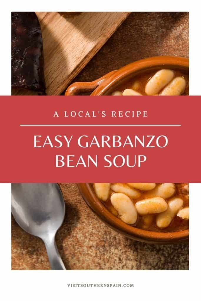 Are you looking for an easy Spanish bean soup recipe? This tasty garbanzo soup recipe comes straight from Spain and comes with vegan, vegetarian and meat variations. When searching for Spanish beans recipes, this one is a must. Garbanzo beans are a staple in Southern Spain and this garbanzo bean soup brings a part of Spain to your home. It's also a great winter dish and one of the best Spanish soups. A must for vegetarian food from Spain too! #beansoup #spanishbeansoup #garbanzos #garbanzobeans