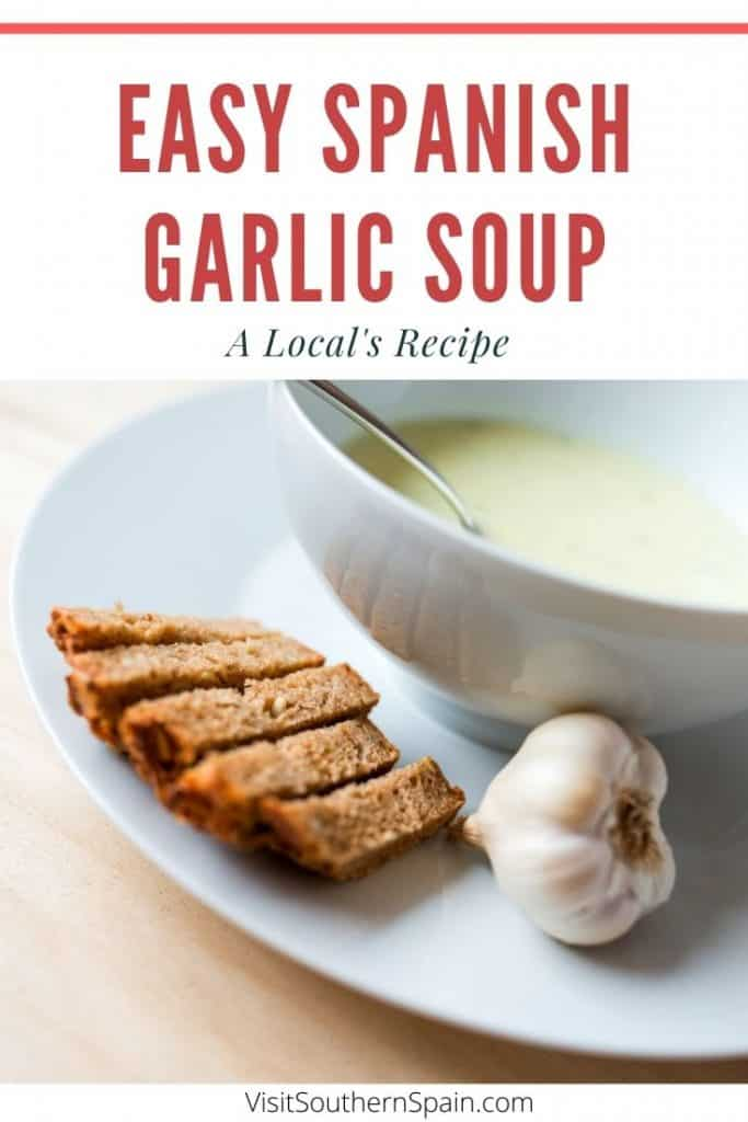 Looking for the ultimate Spanish Garlic Soup recipe? This is a traditional recipe to make Spanish soup and it's so easy to make. You don't need fancy ingredients to make one of the most popular Spanish soups: Sopa de Ajo (Garlic Soup). Indeed, this Spanish garlic soup recipe is a staple during winter in Spain. There is a vegetarian option of this Spanish soup too and this is a great soup against colds. Indeed it's said that garlic soup is healing! #spanishgarlic #spanishgarlicsoup #garlicsoup #garlic