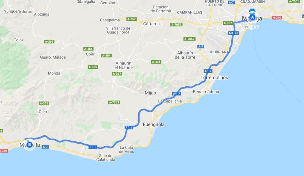 from malaga to marbella map