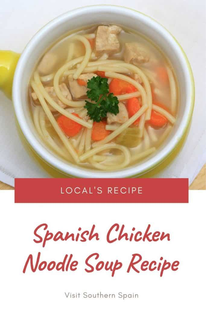 Are you looking for an easy Spanish Chicken Noodle Soup Recipe? This is one of the most popular Spanish soups and a must when looking for a Spanish chicken noodle soup. Not only is this a very easy Spanish soup recipe but on top it's healthy. Indeed this Spanish chicken dish comes with many benefits for your health. When looking for Spanish chicken thigh recipes, this Spanish food recipe comes handy. Spanish chicken soup: a homemade recipe #spanishsoups #spanishchickendish #chickennoodlesoup