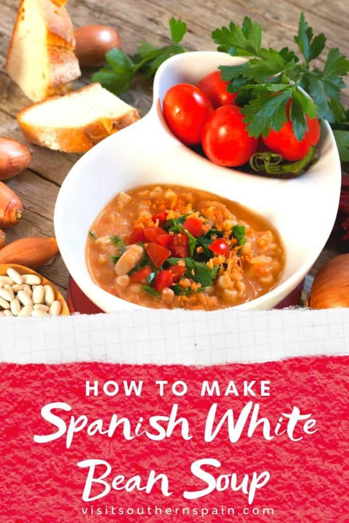 Are you looking for an easy Spanish White Bean Soup Recipe? This is the one! If you love Spanish soups or bean soup recipes, you'll love this hearty and healthy Spanish White Bean Soup Recipe. Indeed this Spanish bean soup recipe comes with many benefits for your health. There are many variations of this Spanish soup recipe, you can do it with garbanzo beans (chickpea soup from Spain) or make Spanish beans and potatoes with this base recipe. #spanishsoups #spanishfood #spanishbeansoup #beansoup