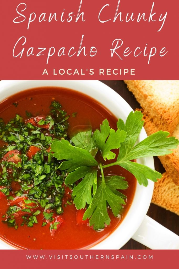 Are you looking for a Spanish Chunky Gazpacho Recipe? This cold Spanish soup is a must during hot summers in Spain and can be found in any Spanish restaurant. Indeed, gazpacho soup from Spain is refreshing, healthy, and easy to make. This gazpacho soup recipe is special thanks to its chunky consistency which makes it a favorite among Spanish soups. This is the best gazpacho recipe if you're in a hurry and looking for a refreshing soup. #gazpachorecipe #spanishgazpacho #coldspanishsoups #gazpacho