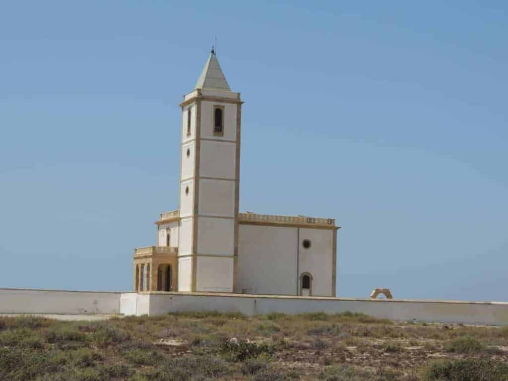 las salinas beach chapel almeria spain