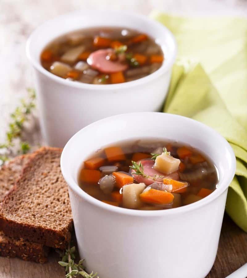 lentil soup with ham closeup