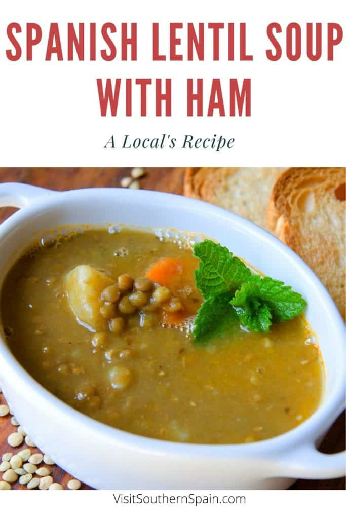 Are you looking for a Spanish Lentil Soup with Ham Recipe? This is an easy recipe to make Spanish lentil soup with a ham bone. You can use Spanish Iberico ham or any other ham that you have in your fridge. This Spanish lentil soup recipe is easy to make and Spanish lentil recipes are considered to be very healthy. The ham can also be replaced with chorizo to create Spanish lentil soup with chorizo. This recipe can also be varied to make Spanish lentil soup crockpot. #spanishlentilsoup #lentilsoup