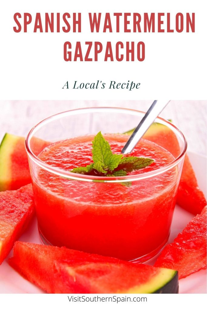 Are you looking for a Watermelon Gazpacho Recipe? This Spanish gazpacho recipe is the perfect cold Spanish soup that you have to try during hot summer days. It's a combination of sweet and savory that will satisfy you and every member of your family. The watermelon gives this summer gazpacho a unique taste that will leave you craving for more. This easy gazpacho recipe is flavorful and refreshing and a very popular Spanish dish. #spanishgazpacho #gazpacho #watermelongazpacho #summersoups