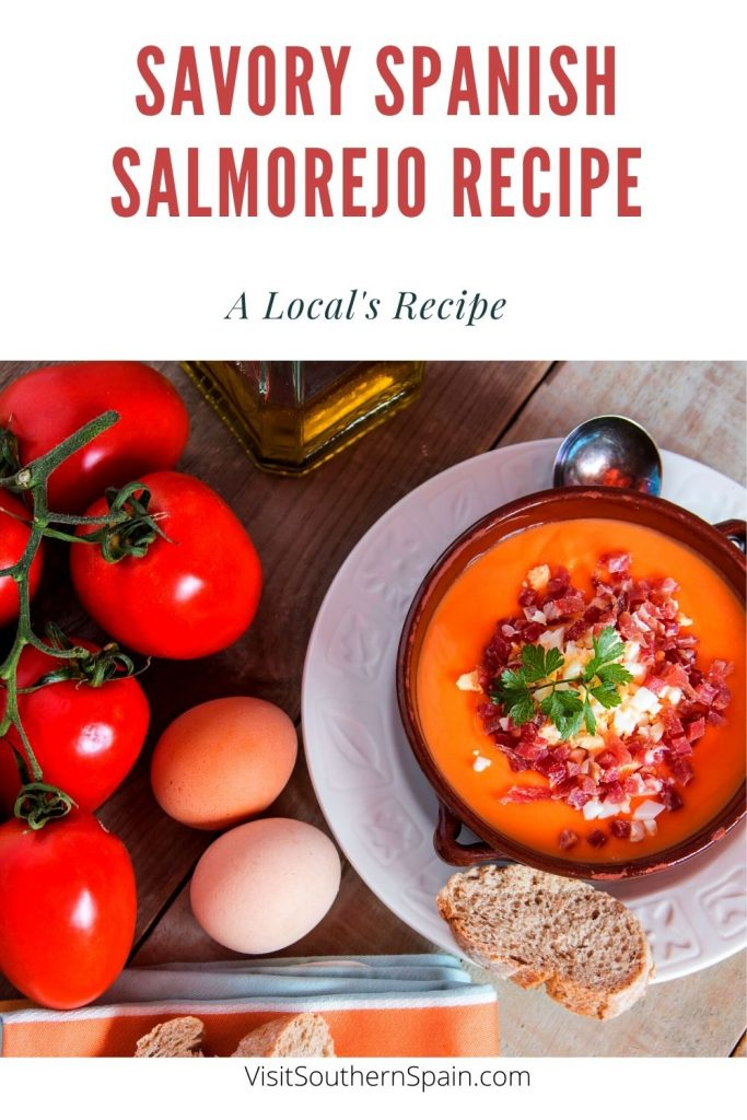 Are you looking for a Salmorejo Recipe? This is by far the most authentic salmorejo soup that you've ever had. This Spanish salmorejo recipe is packed with fresh tomatoes making it the ideal soup for the hot summer days. Healthy and savory, this easy tomato soup is served with boiled eggs and serrano ham. A cold tomato soup that is the perfect choice if you're in a hurry but also looking for a filling Spanish soup for your family. #salmorejorecipe #spanishcoldsoup #salmorejo #spanishsalmorejo