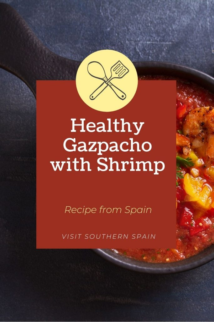 Are you looking for a Healthy Gazpacho with Shrimp? This is an easy gazpacho recipe that you must try during hot summer days. The freshness of this Spanish gazpacho soup is complemented by delicious shrimps and just a touch of seasoning to spice things up. After you've tried this shrimp gazpacho recipe you will never want to eat something else. This shrimp gazpacho is an easy way to cook a healthy dish and also enjoy one of Spain's most popular soups. #shrimpgazpacho #gazpacho #spanishgazpacho