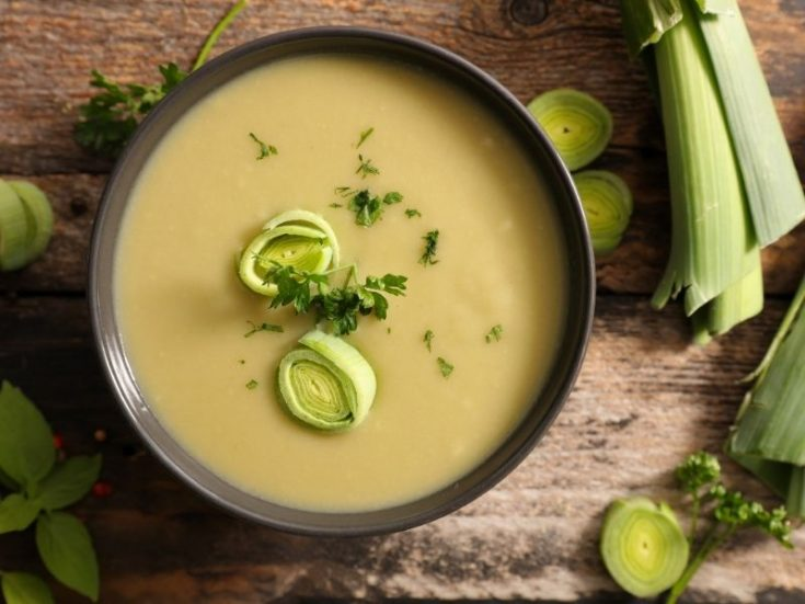 Leek and Celery Soup recipe closeup