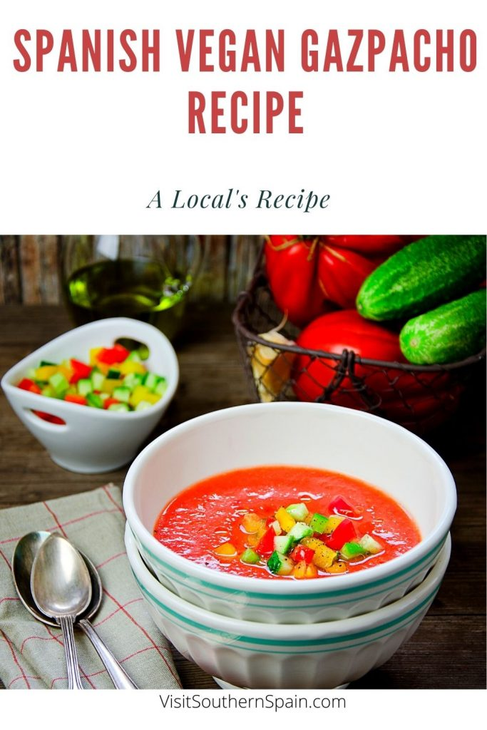 Are you looking for a Spanish Vegan Gazpacho Recipe? You'll never know how easy and delicious this vegan soup is until you've tried it. This is a low carb vegan recipe that can help you beat the heat this summer. You don't have to look for vegan lunch recipes for the raw vegan gazpacho is also a cheap vegan recipe that is ready in no time. You will be amazed at how flavourful and refreshing this cold soup is, thanks to the fresh vegetables. #vegangazpacho #vegansoup #coldspanishsoup #gazpacho