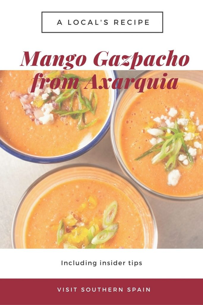 Are you looking for a Refreshing Mango Gazpacho from Axarquia? This cold fruit soup is popular during summertime and a favorite among Spanish soups. The mango soup very refreshing and flavorful and is, of course, an easy gazpacho recipe that you can make at any time. This mango gazpacho recipe is a special fruit soup thanks to the ripe mango as the main ingredient. There's no better way to celebrate summer than with a chilled mango soup. #mangogazpacho #coldmangosoup #mangosoup #gazpacho