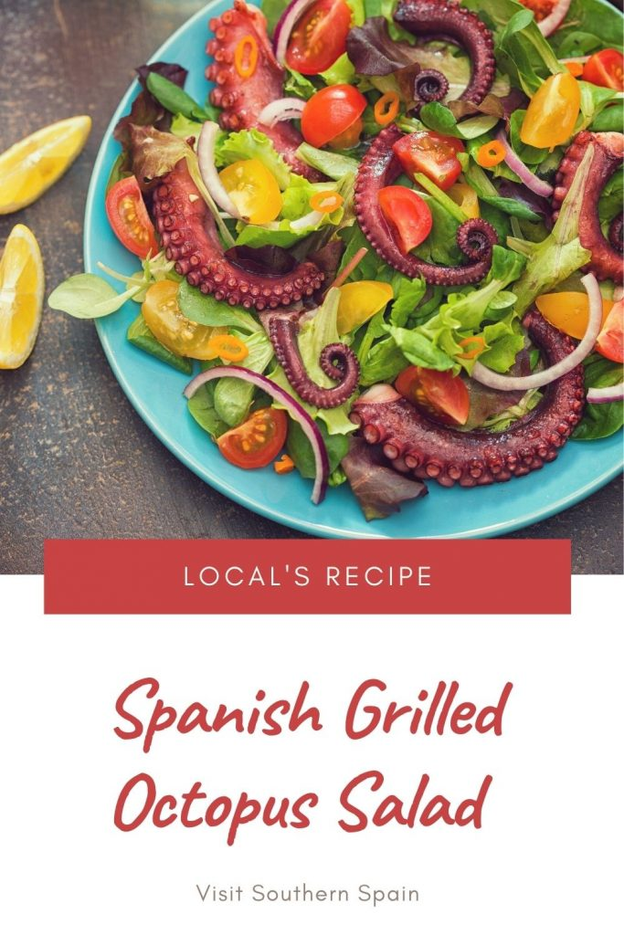 Are you looking for a Spanish Grilled Octopus Salad Recipe? You're in luck because our octopus salad is the most delicious and easy Spanish salad. This grilled octopus recipe is Andalusians' most favorite salad during spring or summer days. The Spanish octopus salad can be made as a main course or as an entree. The Ensalada de pulpo is refreshing and flavorful thanks to the combination of fresh vegetables and grilled octopus. #spanishoctopussalad #grilledoctopussalad #spanishsalad #octopussalad