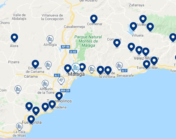 Map Best Family Hotels in Malaga