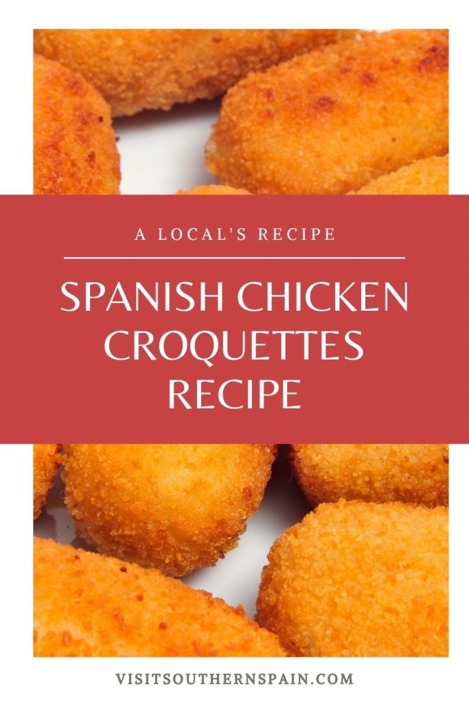 Are you looking for a Spanish Chicken Croquettes Recipe? These chicken croquettes have a soft filling, a crispy crust, and they simply melt in your mouth. The Spanish croquettes can be found at every restaurant and bar in Spain under the famous name of Spanish tapas or Spanish appetizers. The Spanish chicken croquettes recipe is made out of chicken and Béchamel sauce, fried until they are golden and crisp. Super tasty and savoy! #chickencroquettes #croquettes #spanishtapas #spanishcroquettes
