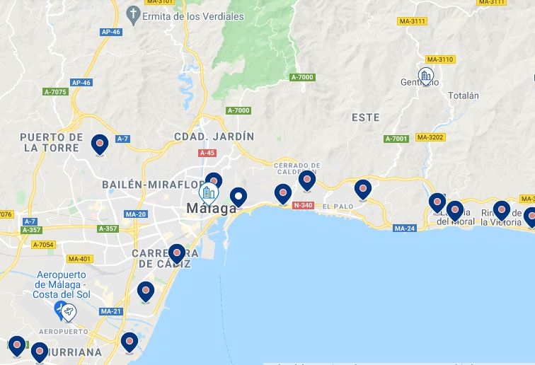 Map Best Hotels in Malaga with Pool