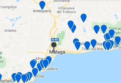 Map Best AirBnBs in Malaga, Spain