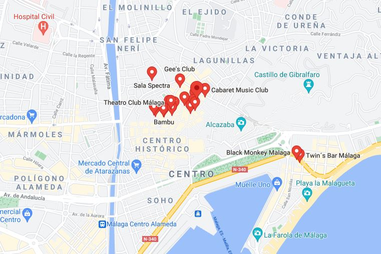 Map Things to do in Malaga at Night