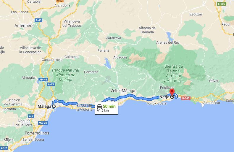 Malaga to Nerja map